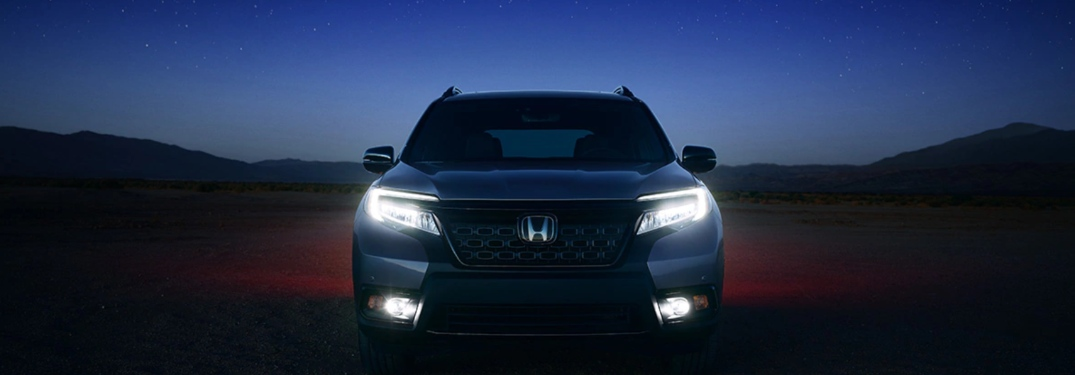 2019 Honda Passport parked in a lot at night