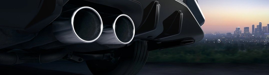 Close-up on the exhaust of the 2020 Honda Civic Hatchback Sport Touring