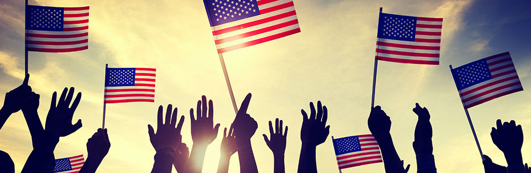 Hands Holding up Small American Flags