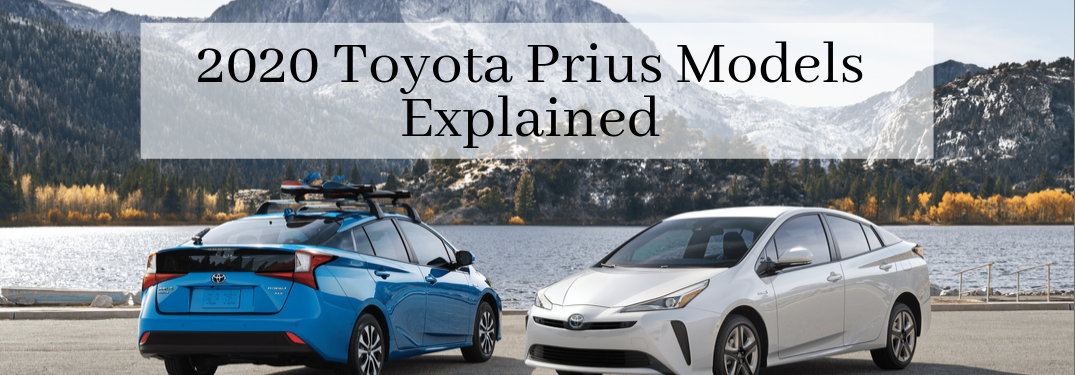 """Two 2020 Toyota Prius cars, blue on left and white on right in front of a lake with """"2020 Toyota Prius Models Explained"""" typed above them"""