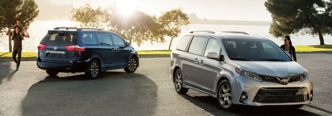 2020 Toyota Sienna Limited Premium AWD and SE Premium in front of lake