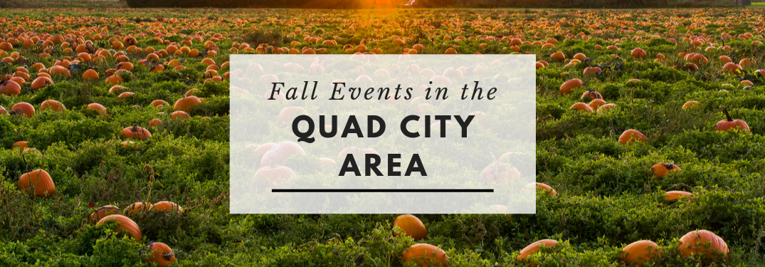"""Pumpkin patch in background with a transparent white box centered with words """"Fall Events in the Quad City Area"""" on it"""
