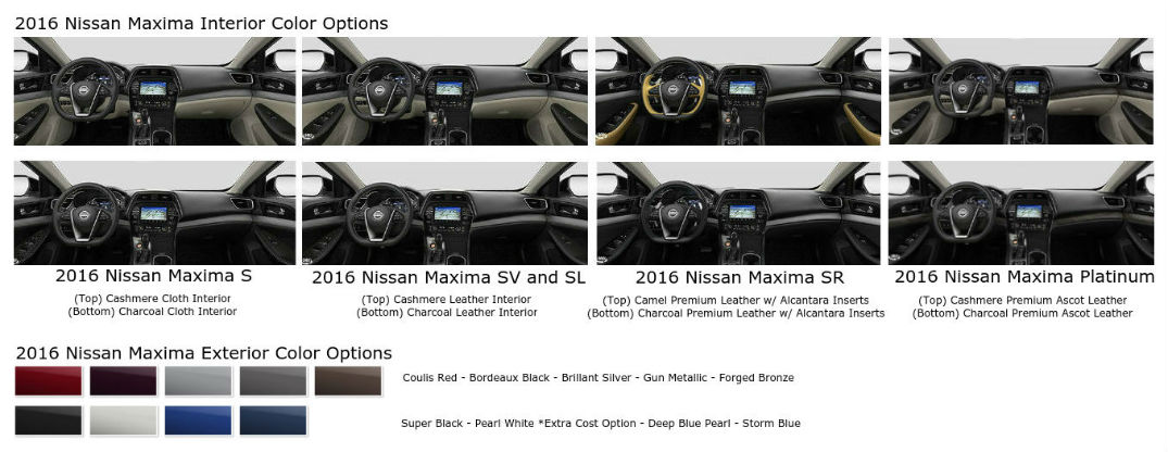 Striking color options for the 2016 Nissan Maxima