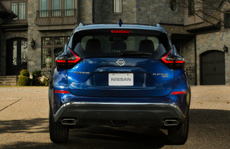 rear view of blue nissan murano