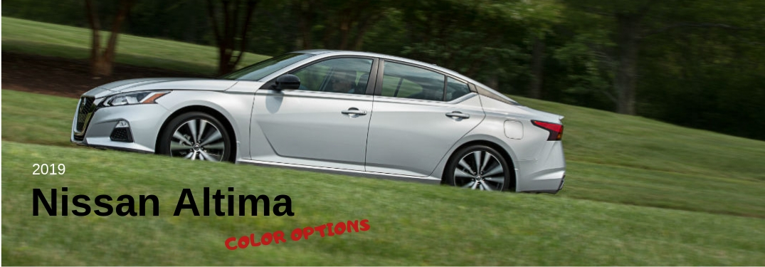 2019 Nissan Altima Color Options, text next to a driver side exterior image of a gray 2019 Nissan Altima