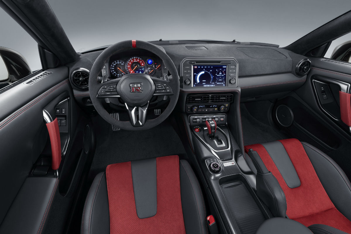 Driver's cockpit of the 2019 Nissan GT-R NISMO