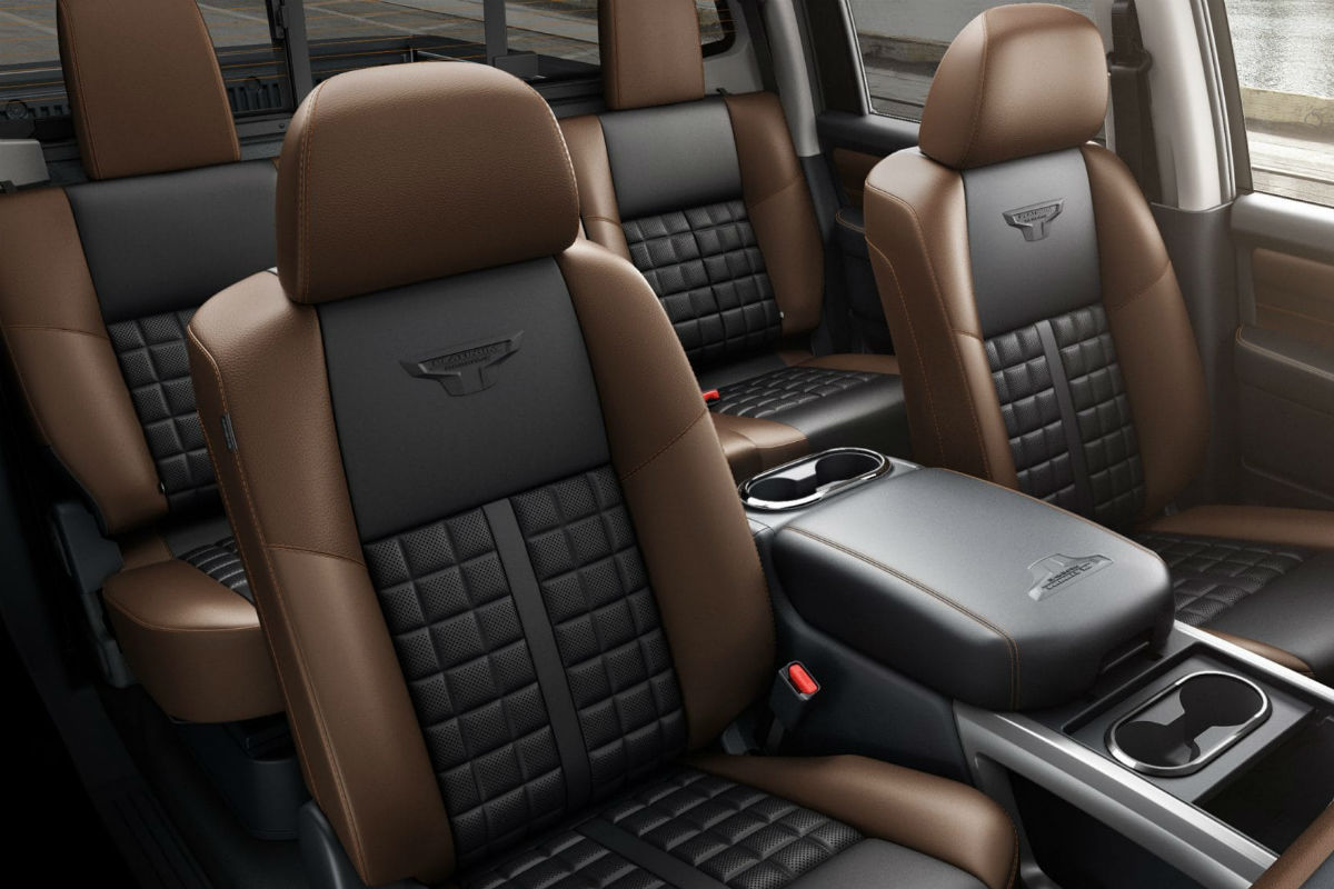 Front overhead view of the available two rows of seating in the 2019 Nissan TITAN