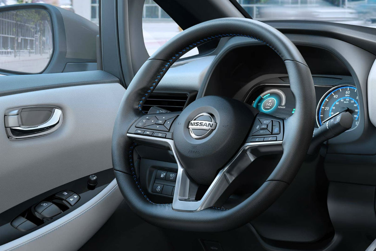 Steering wheel mounted controls of the 2019 Nissan Leaf