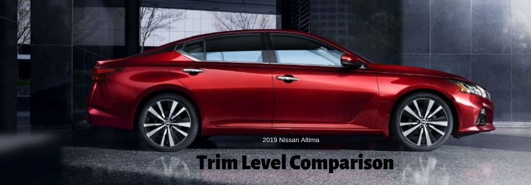 2019 Nissan Altima Trim Level Comparison, text below a passenger side exterior image of a red 2019 Nissan Altima