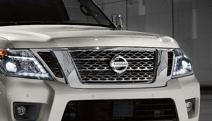 Close-up on the 2019 Nissan Armada's front