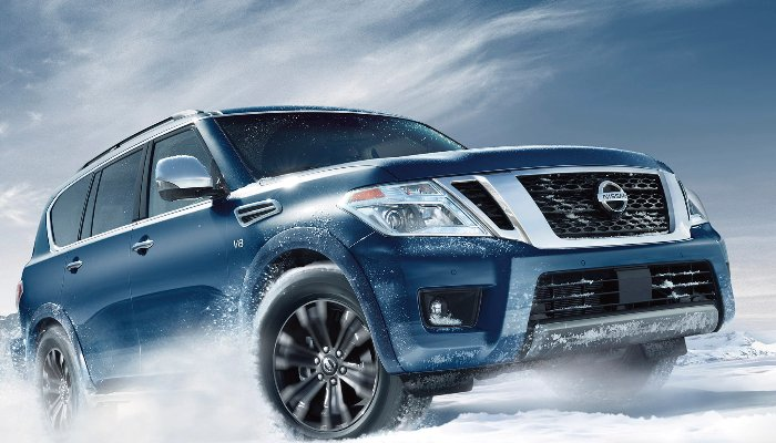 2020 Nissan Armada driving in the snow