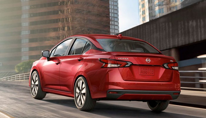 2020 Nissan Versa S driving in a city