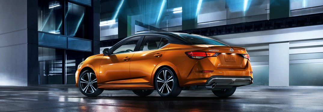 2020 Nissan Sentra parked in front of a building at night