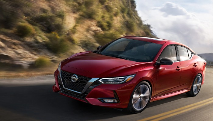 2020 Nissan Sentra driving down a mountain road