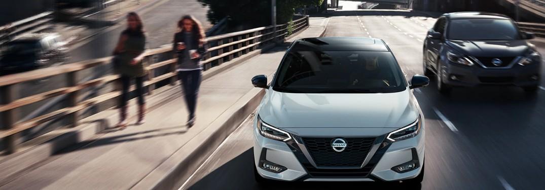 2020 Nissan Sentra driving on an overpass