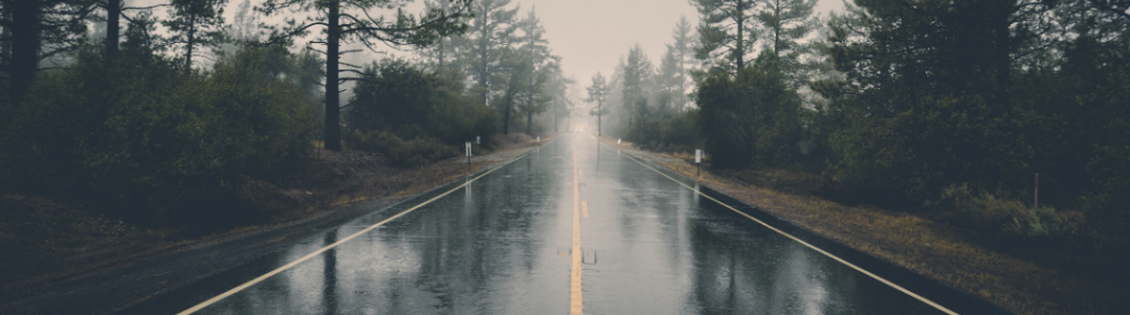 A road in the rain