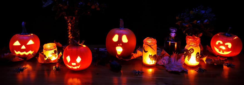 A row of Jack-o-Lanterns