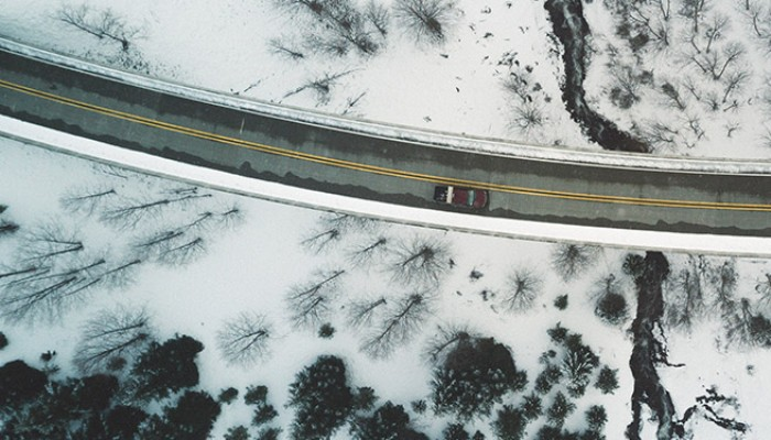 Bird's eye view of a winter road