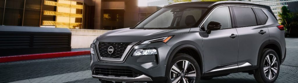 2021 Nissan Rogue parked on top of a building