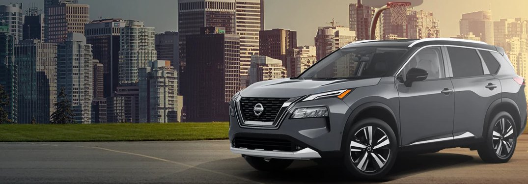 2021 Nissan Rogue parked on a basketball court