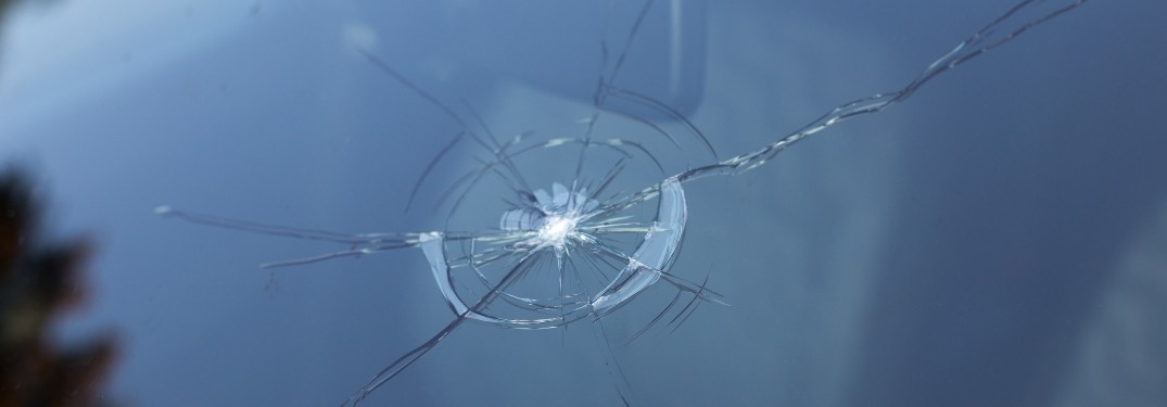 Close-up on a smashed windshield