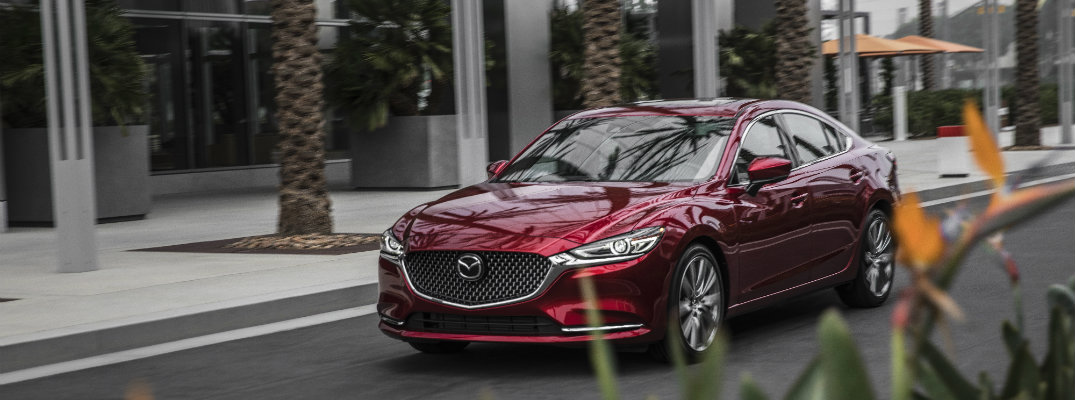 red-2018-Mazda6-driving-by-palm-trees-and-flowers