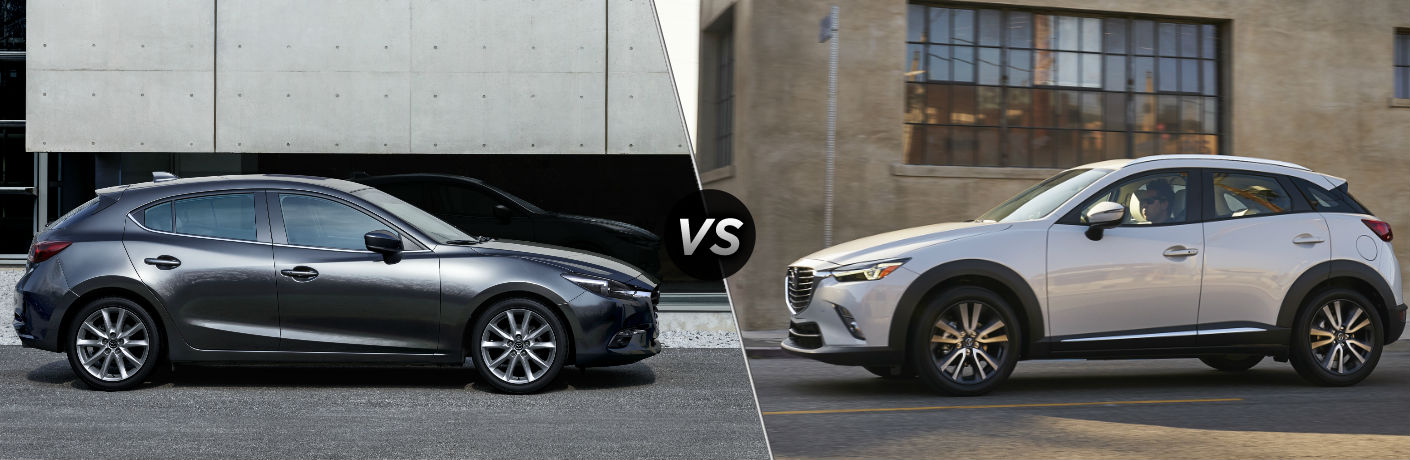 "Passenger side exterior view of a gray 2018 Mazda3 5-Door on the left ""vs"" driver side exterior view of a white 2018 Mazda CX-3"