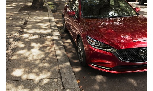 2018 Mazda 6 side walk shot red paint