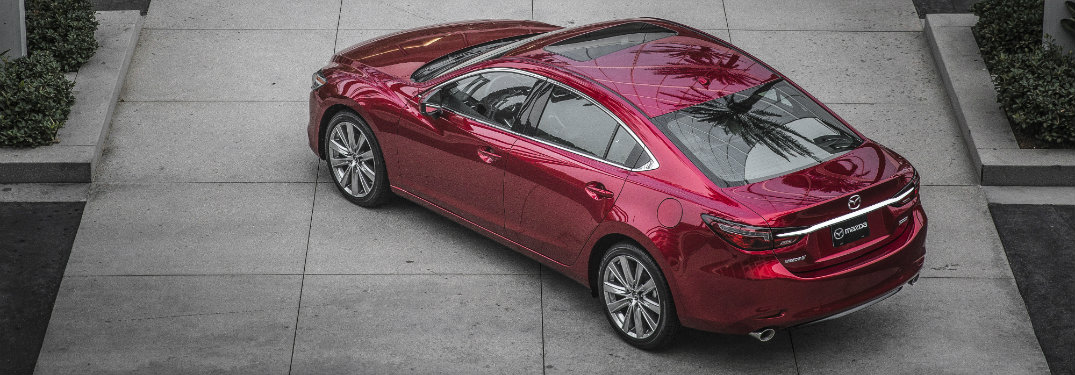 aerial view of red mazda6 with sunroof
