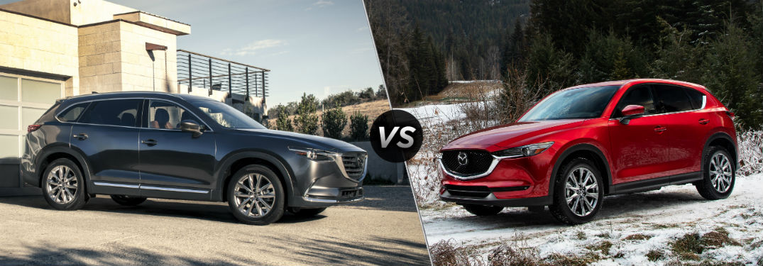 "Passenger side exterior view of a gray 2019 Mazda CX-9 on the left ""vs"" driver side exterior view of a red 2019 Mazda CX-5 on the right"