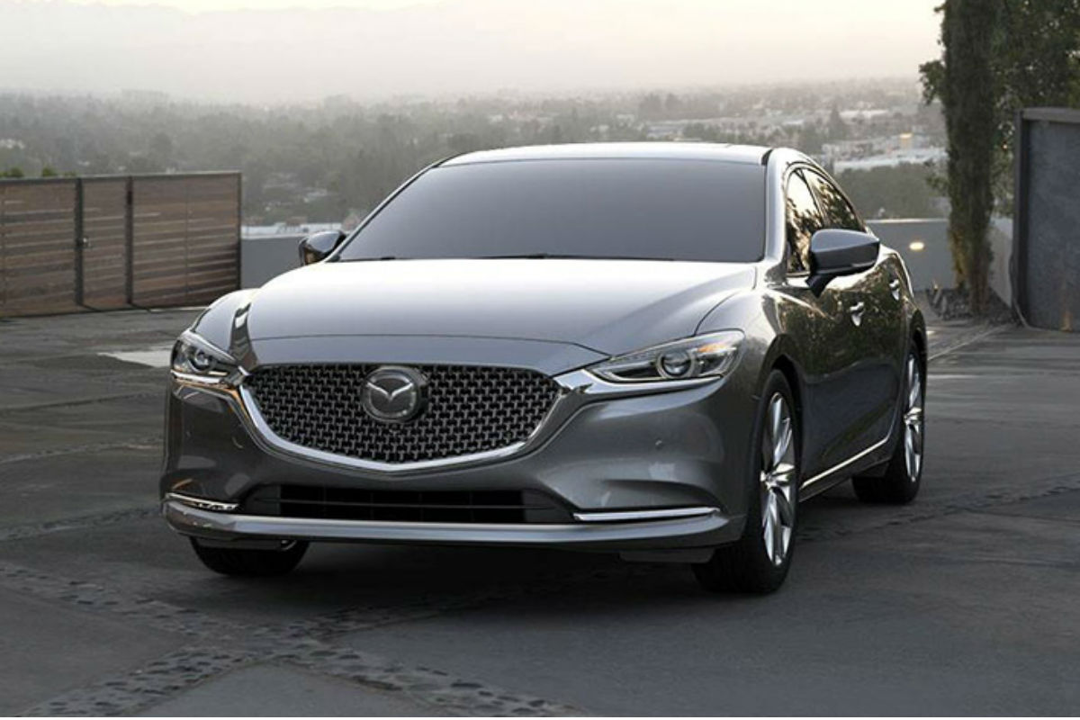 Front exterior view of a gray 2019 Mazda6