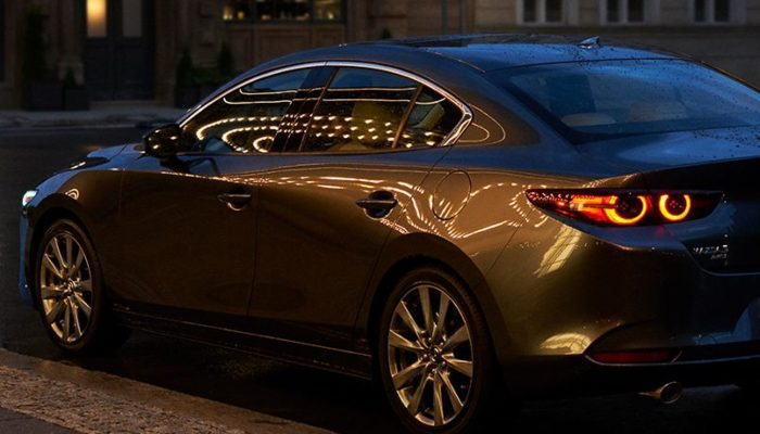 2020 Mazda3 Sedan parked in a parking lot at night