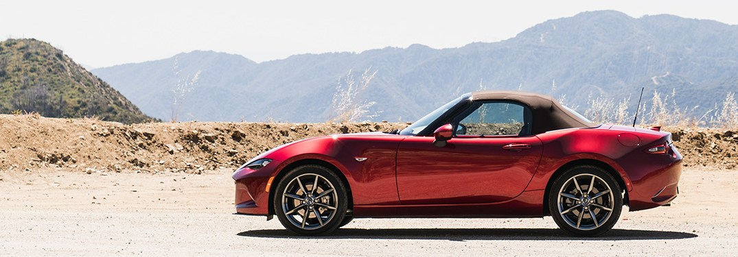 2019 Mazda MX-5 Miata parked in the desert