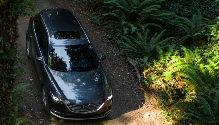 2020 Mazda CX-9 Touring driving down a forest trail