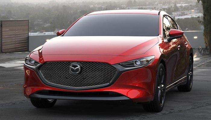 2020 Mazda3 Hatchback parked on a parking ramp