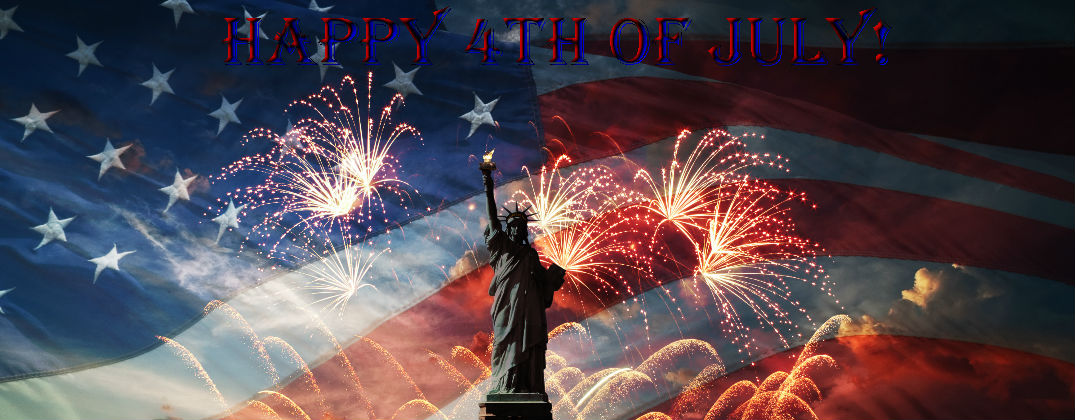 stateu of liberty with fireworks and american flag background and happy 4th of july banner