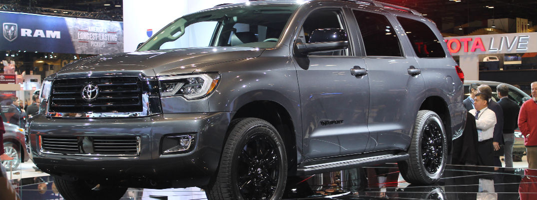 2018 toyota sequoia interior. simple toyota gray 2018 toyota sequoia trd sport front and side exterior on stage at  2017 chicago auto with toyota sequoia interior