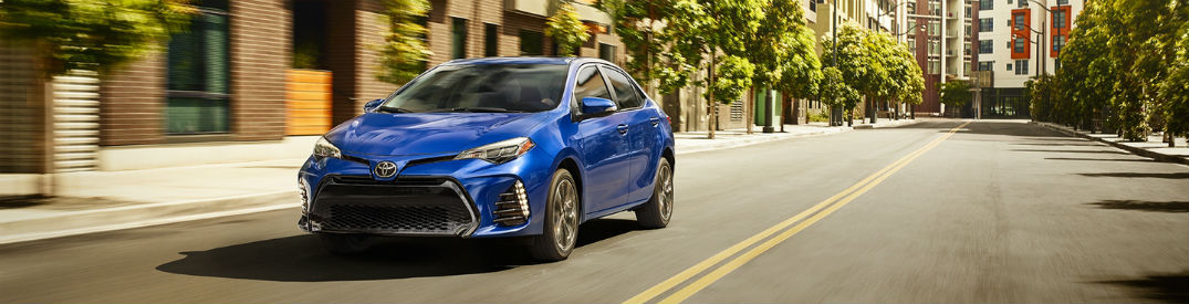 Exterior view of blue 2018 Toyota Corolla