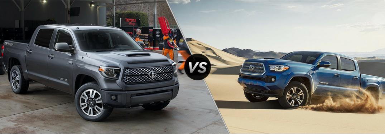 Tundra Vs Tacoma >> Compare The Toyota S 2018 Trucks The Tacoma And Tundra