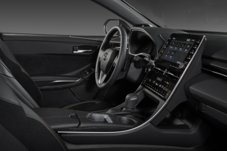 front interior of 2019 toyota avalon including steering wheel and center console