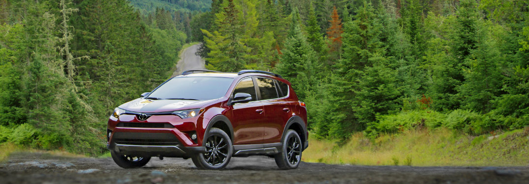 red and black 2018 toyota rav4 on dirt forest road with trees surrounding it