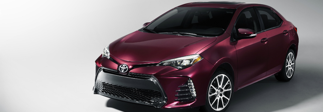 front and side view of purple 2019 toyota corolla
