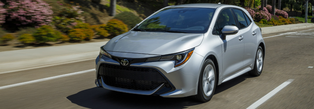 front and side view of silver 2019 toyota corolla hatchback