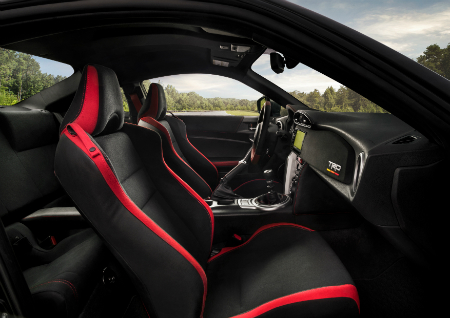 side view of front interior of 2019 toyota 86 trd special edition including steering wheel and seats