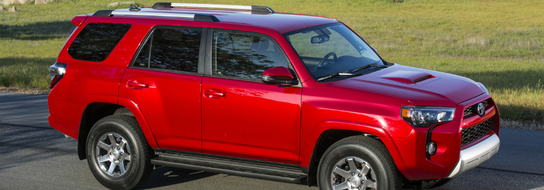 front and side view of red 2019 toyota 4runner