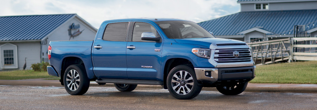 side view of blue 2019 toyota tundra