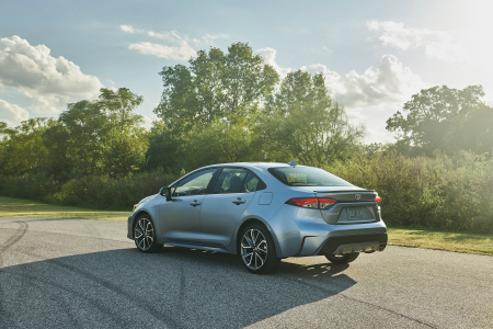 rear and side view of blue 2020 toyota corolla