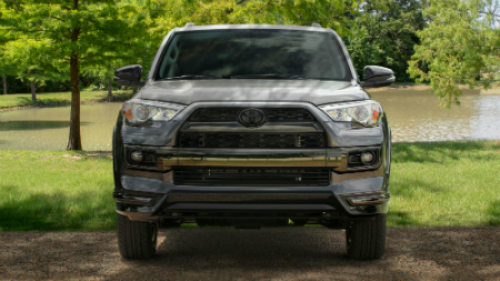 front view of gray 2019 toyota 4runner including grille and headlights