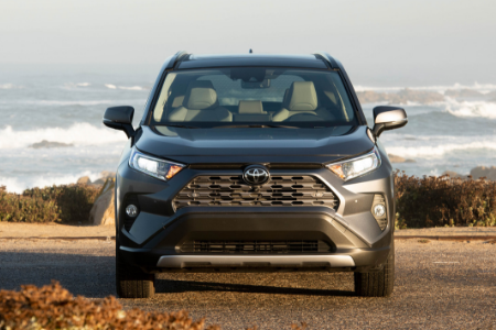 front view of gray 2019 toyota rav4