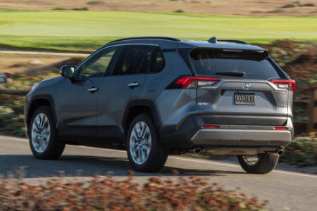rear and side view of gray 2019 toyota rav4